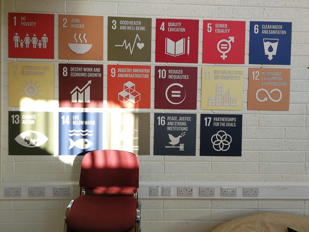 UN Development Goals on a wall
